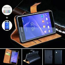 E Genuine Leather Black Stand for Sony Xperia Z3 Case Wallet Card Cover