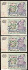 Sweden, 1978, 5 Kronor x 4, 'Gustav Vasa', Unc, 4 notes in numerical order