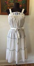 True Vintage 70s Tiered Embroidered Hippie Sun Dress Medium M