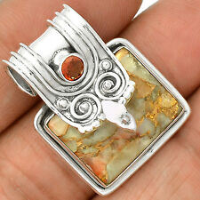 Copper White Turquoise & Garnet 925 Sterling Silver Pendant Jewelry SP221453