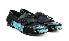 BRUNO MAGLI BLACK & BLUE HANDMADE SHOES 100% LEATHER-FABRIC ITALY NEW SIZE 9 #47