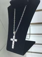 NEW! STAINLESS STEEL Chain with a Matching Cross Clear Gem Stones Pendant