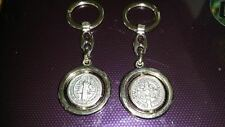 St Benedict keyring spinning Catholic Vatican City charm medal