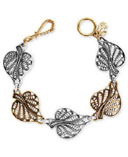 Lucky Brand Bombay Filagree Openwork Leaf Charms Flex Bracelet Two Tone Leaves