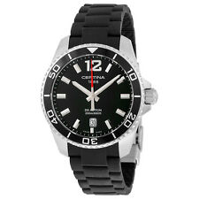 Certina DS Action Quartz Black Dial Black Rubber Mens Watch C0134101705700