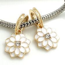 Fine 2pcs gold Flowers European Charm Beads Fit 925  Bracelet Pendant  #66