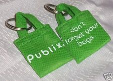 """Lot 2 Mini Grocery Store Shopping Bags Publix """"Don't Forget Your Bags"""" Keychain"""