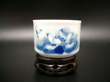 ANCIENNE TASSE THE ALCOOL PORCELAINE CHINE BLEU BLANC SIGNE LOTUS ARTISANAL
