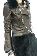 CHANEL 10A Brown Leather Black Fantasy Fur Jewel Buttons Coat Jacket 40 $14510