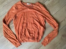 Miss Selfridge Orange Brown Jumper With Lace Back Uk 10 Great Condition