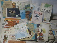 large vintage map lot 30+ National Geographic maps America World Mars Earth 70's