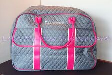 Tupperware Large Quilted Grand Traveler Tote Bag Rare Award Pink Grey New