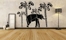 Wall Room Decor Art Vinyl Sticker Mural Decal Elephant Palm Ethnic Africa FI744
