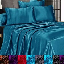 3 Pc Satin Silky Sheet Set Queen/King Size Fitted Pillows 500TC  (10 Colors) New