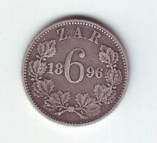 1896 South Africa 6 Pence Sterling Silver Sixpence 6P ZAR Coin