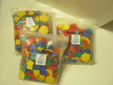 3 bags of PATTERN BLOCKS - teach colors and shapes - teachers schools - 7 lbs +