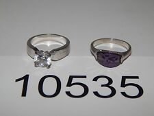Vintage Jewelry LOT OF 2 Rings SILVER TONE BEAUTIFUL STONES 10535