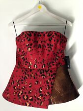 JOSH GOOT Peplum Corset BNWT Red Leopard and leather top size M RRP$1,245