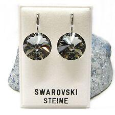 Neu OHRHÄNGER 14mm SWAROVSKI STEINE black diamond/schwarz-grau OHRRINGE