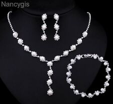 Silver Crystal Pearl Necklace Bracelet Earrings Bridal Wedding Jewellery Set
