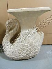 2 Frontgate concrete stone swan planters statue flowers garden outdoor urn