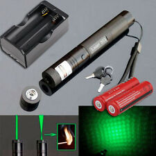 532nm 5mw 303 Green Laser Pointer Lazer Pen Burning Beam Light +2*18650+Charger