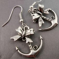 Vintage Cute Antique Silver Plated Anchor with Bow Earrings Kitsch