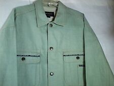 Phat Farm Green Denim Jean Jacket 3XL Trucker Coat Snap Button Front Cotton