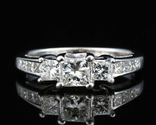 ZALES NATURAL 1.32ctw PRINCESS CUT DIAMOND SOLID 14K WHITE GOLD ENGAGEMENT RING