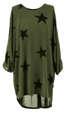 Italian Plus Size Ladies Baggy Sleeved Stars Print Tunic Top Shirt 14 18 20 26