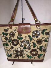 VINTAGE ENID COLLINS FABRIC BUCKET BAG PURSE JEWELED JEWLS FLOWER GARDEN IV