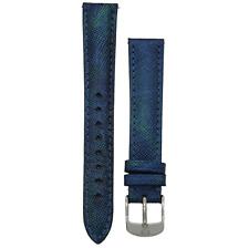 Michele 18mm Dark Blue Genuine Saffiano Leather Strap MS18AA430401