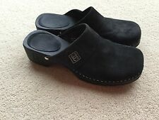CHANEL 100% authentic womens black suede slip on wooden clogs size 3.