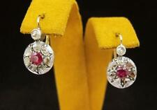 ANTIQUE Gold Rose Cut DIAMONDS RUBY Round Dangle Earrings VERY OLD