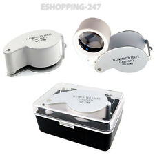 Eye Glass Lens 40x25mm Magnifying Loupe LED Pocket Size Magnifier Jewelers B041