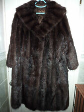 "Ladies soft real dark brown Bisam Mink fur coat bust 46"" size 18 length 39"""