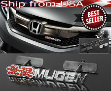3D Metal Chrome Red Mugen Front Emblem Badge For Honda Acura Grill Grille