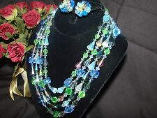 VINTAGE SIGNED VENDOME STUNNING COLORS AB CRYSTALS 4 STR NECKLACE EARRINGS SET