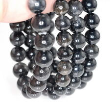 8-9MM BLACK RUTILATED QUARTZ GEMSTONE GRADE AAA ROUND 8-9MM LOOSE BEADS 7""
