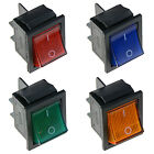 Illuminated Large On-Off Rocker Switch 12V DPST - Red Blue Green Yellow