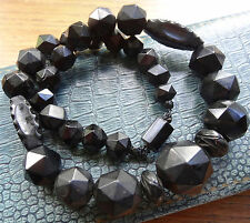 antique Victorian Whitby Jet carved bead & clasp black mourning necklace C439