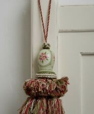 Shabby Chic French Country Tassel Tassle Pink Green Curtains Doors Drawers