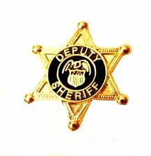 Deputy Sheriff Tie Tack Tac 6 Point Star Eagle Crest Badge Officer Gold P3804G