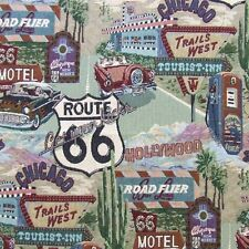 ROUTE 66 ROAD SIGNS UPHOLSTERY FABRIC HAPPY DAYS CARS TAPESTRY