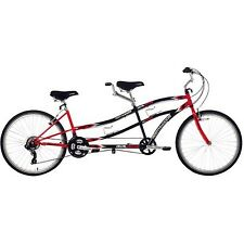 "26"" Northwoods 21 Speed Dual Drive Shimano Tandem Bike Red Black Bicycle Cruiser"
