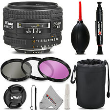 Nikon AF NIKKOR 50mm f/1.4D Autofocus Lens - Deluxe 3pc Filter Kit + Lens P