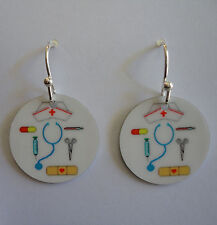 NURSE Earrings. -or- PERSONALIZE with YOUR NAME or PHOTO. RN, LPN, Grad.