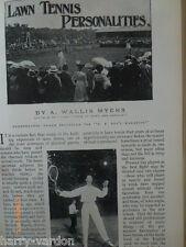LAWN TENNIS personalità RARE OLD Periodo edoardiano antico illustrato l'articolo 1904
