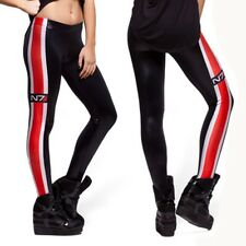 Sexy Women Mass Effect N7 Galaxy Leggings Black leather GYM Racing Pants