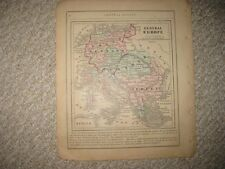 ANTIQUE 1858 CENTRAL EUROPE PRUSIA GERMANY AUSTRIA TURKEY COLTON HANDCOLORED MAP